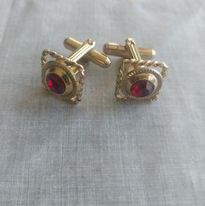 Vintage Gold Tone Red Rhinestone Cufflinks